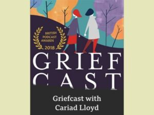 The cover for Grief Cast with Cariad Lloyd has two characters walking across a black hill with yellow and purple trees behind them