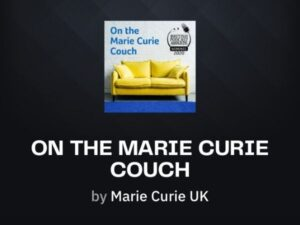 A black square with a yellow sofa and the word On The Marie Curie Couch
