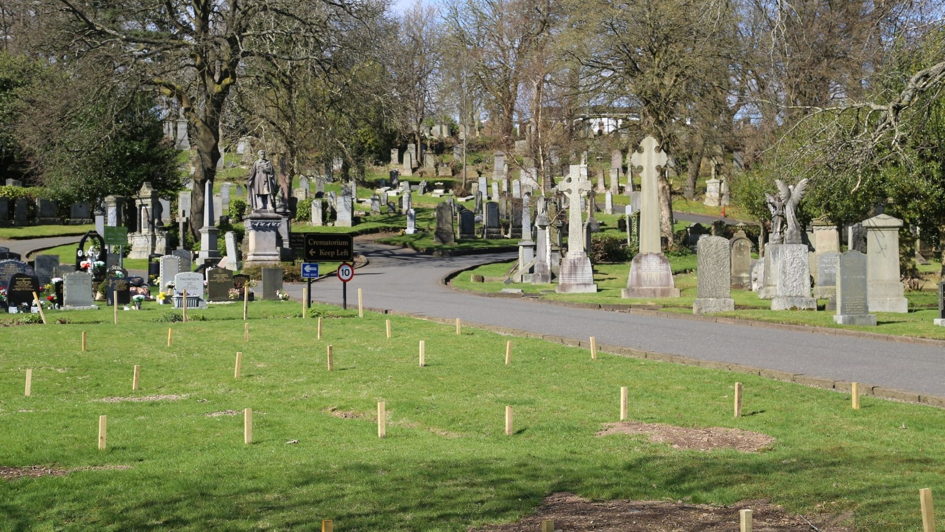 Burial plots at Woodside Cemetery in Paisley